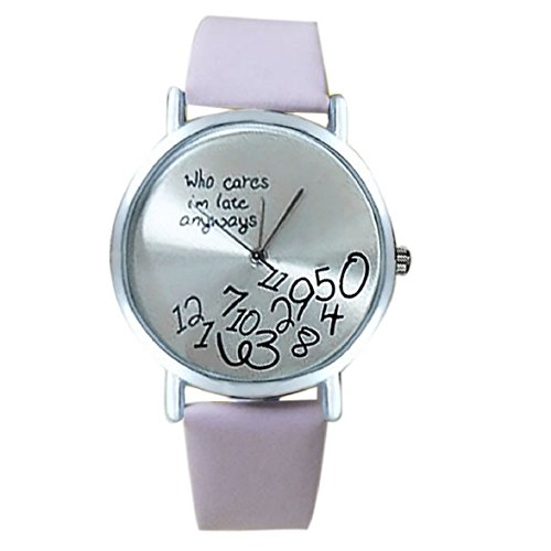 Culater Frauen einfach Who Cares I am Late Anyway Leather Band Uhr Armbanduhr rosa