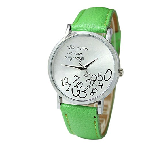 Culater neu Bunt Frauen einfach Who Cares I am Late Anyway Leather Band Uhr Armbanduhr gruen