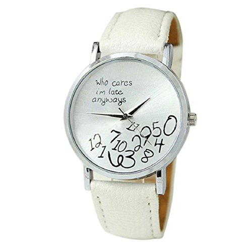 Culater neu Bunt Frauen einfach Who Cares I am Late Anyway Leather Band Uhr Armbanduhr weiss
