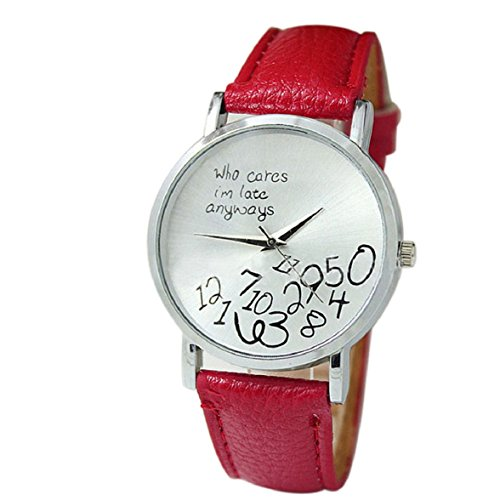 Culater neu Bunt Frauen einfach Who Cares I am Late Anyway Leather Band Uhr Armbanduhr rot