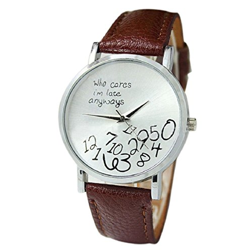 Culater neu Bunt Frauen einfach Who Cares I am Late Anyway Leather Band Uhr Armbanduhr braun