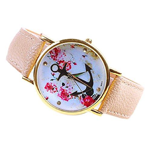 Culater Frauen suess PU Leder Band Blumenmuster Anker Quarz Armbanduhr rosa