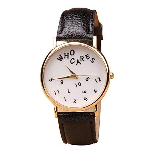 Culater Frauen Maedchen Who Cares PU Leder Uhr Armbanduhr schwarz