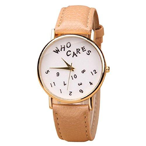 Culater Frauen Maedchen Who Cares PU Leder Uhr Armbanduhr khaki