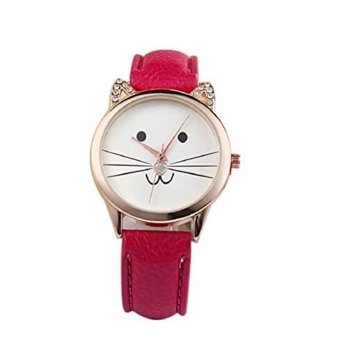 Culater Frauen Maedchen Gold Zifferblatt schoen Karikatur Kaetzchen Kunstleder Armbanduhr rot