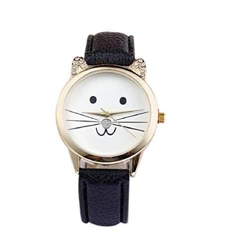 Culater Frauen Maedchen Gold Zifferblatt schoen Karikatur Kaetzchen Kunstleder Armbanduhr schwarz