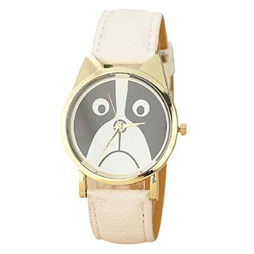 Culater Frauen Maedchen Gold Zifferblatt schoen traurig Panda Katzenbaer Gesicht Kunstleder Armbanduhr weiss