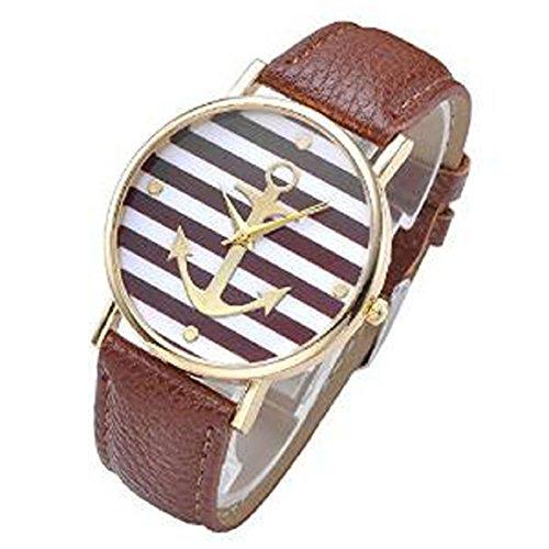 Culater Frauen Maedchen Streifen Anker PU Leder Uhr Armbanduhr braun