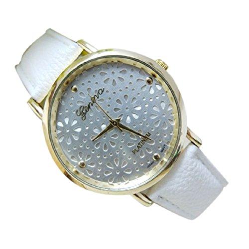 Culater Frauen hohl Blume Zifferblatt Candy Farbe Kunstleder Uhr Armband weiss