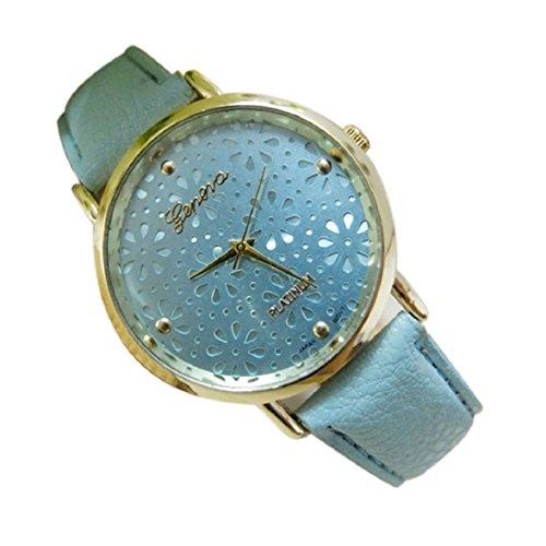 Culater Frauen hohl Blume Zifferblatt Candy Farbe Kunstleder Uhr Armband blau