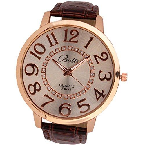 Culater Frauen Dame gross Roemer Zahlen Gold Zifferblatt Leder Quarzuhr Armbanduhr braun