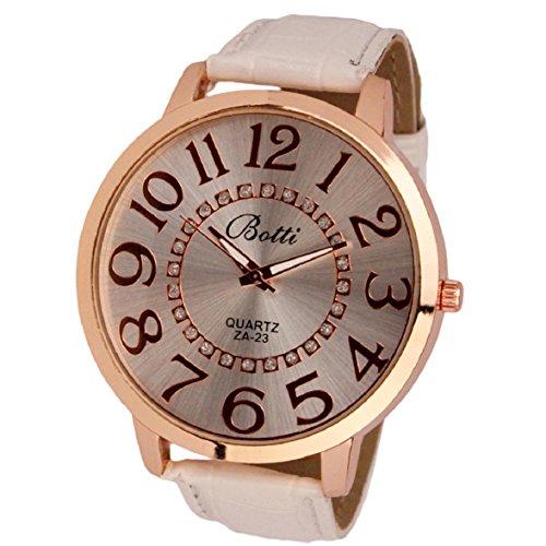Culater Frauen Dame gross Roemer Zahlen Gold Zifferblatt Leder Quarzuhr Armbanduhr weiss