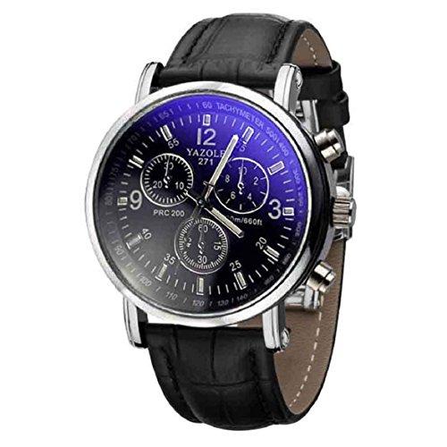 Culater Luxus Herren Jungen Kunstleder Blu Ray Glas Quartz Uhr Armbanduhr schwarz