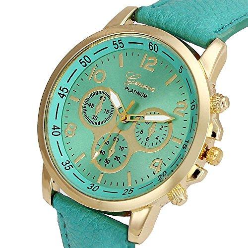 Culater Luxus Unisex Laessige Genf PU Leder Quarz Analoge Armbanduhr Minzgruen