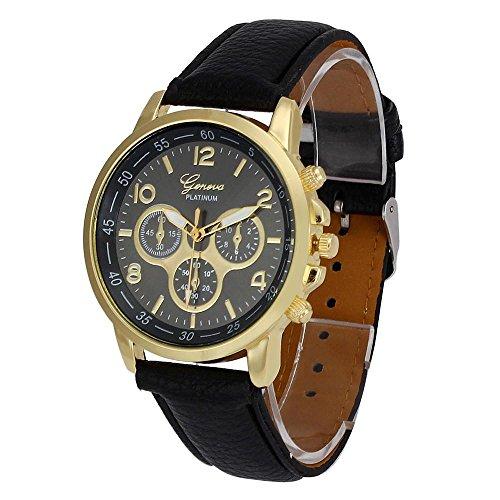 Culater Luxus Unisex Laessige Genf PU Leder Quarz Analoge Armbanduhr Schwarz