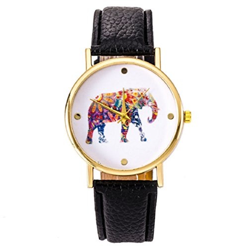 Culater Frauen Maedchen OElgemaelde Elefant Muster Gold Zifferblatt Quarz Armbanduhr Uhr schwarz