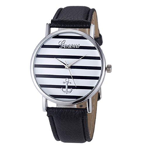 Culater Damen Maedchen Streifen Anker PU Leder Uhr Armbanduhr Silber Schwarz