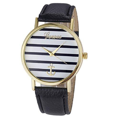Culater Damen Maedchen Streifen Anker PU Leder Uhr Armbanduhr Gold Schwarz