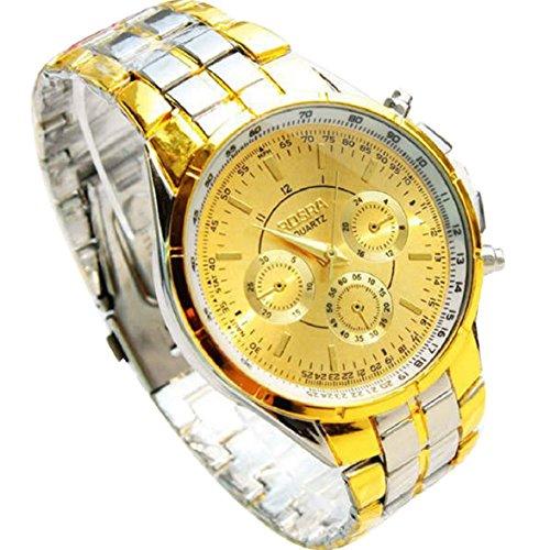 Culater Maenner Luxus Metall Roemer Ziffern Gold Zifferblatt Armbanduhr Uhr
