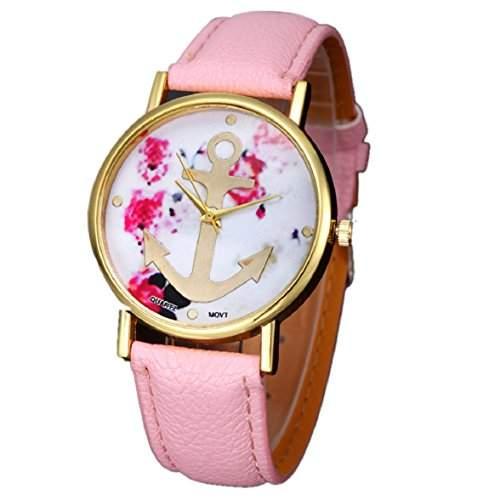 Culater Mode Frauen Blume Anker Kleid Uhr Blumenmuster Zifferblatt Armbanduhr Pink