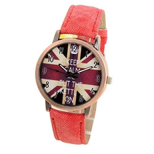Culater Mode Unisex UK Flagge Denim Sport Armbanduhr rot