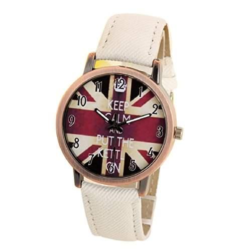 Culater Mode Unisex UK Flagge Denim Sport Armbanduhr weiss