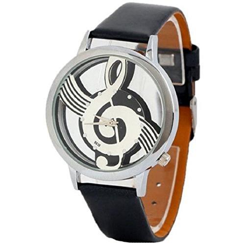 Culater Unisex Luxus Musik Notensatz Lederband Armbanduhr Uhr schwarz