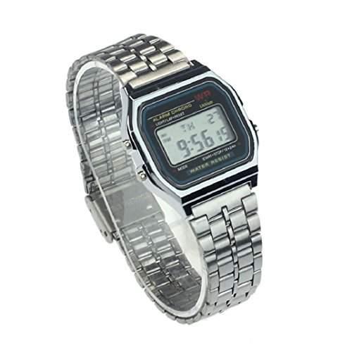 Culater Retro Herren Damen Luxus Edelstahl digital Uhr Armbanduhren Stoppuhr Silber