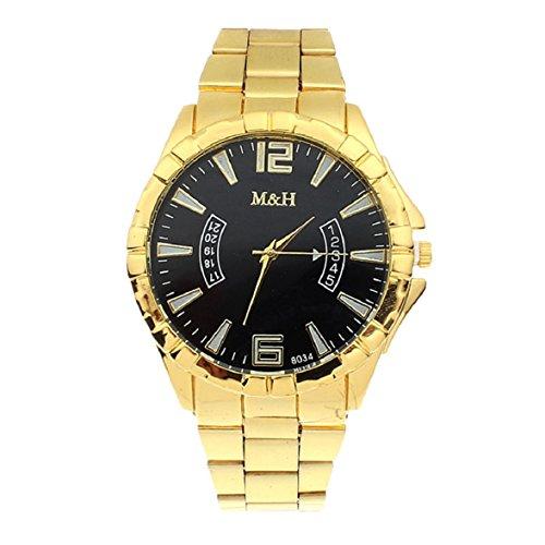 Culater Luxus Unisex Special Edelstahl Gold Gurt Zifferblatt Armbanduhr Uhr Schwarz