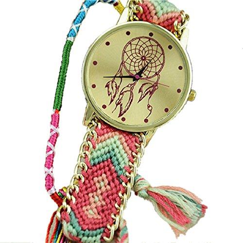 Culater Frauen ethnisch Traumfaenger Muster Freundschaft Armband gestrickt gewebte Seil Band Armbanduhr Pink Gruen