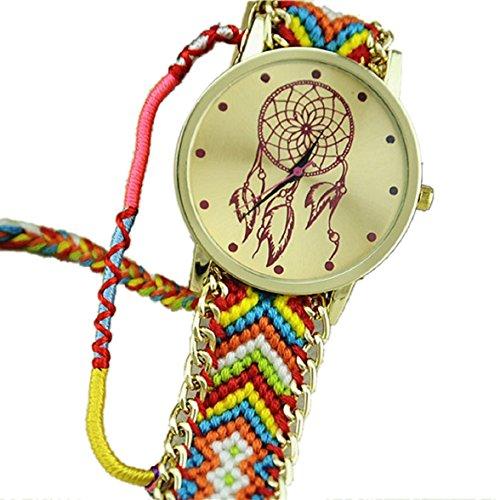 Culater Frauen ethnisch Traumfaenger Muster Freundschaft Armband gestrickt gewebte Seil Band Armbanduhr Pink Blau