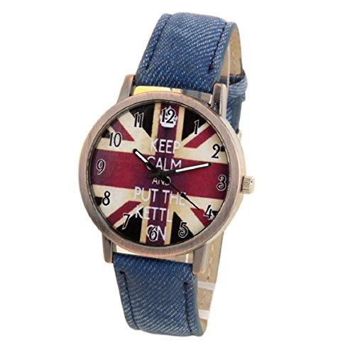 Culater Mode Unisex UK Flagge Denim Sport Armbanduhr blau