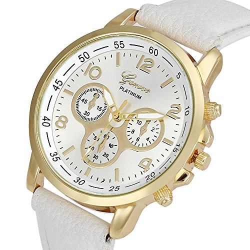 Culater Luxus Unisex Laessige Genf PU Leder Quarz Analoge Armbanduhr Weiss