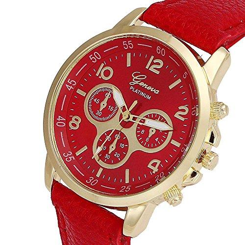 Culater Luxus Unisex Laessige Genf PU Leder Quarz Analoge Armbanduhr Rot