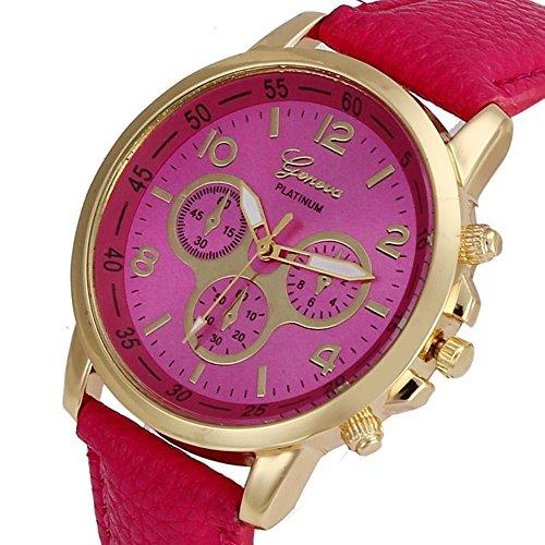 Culater Luxus Unisex Laessige Genf PU Leder Quarz Analoge Armbanduhr Hot Pink