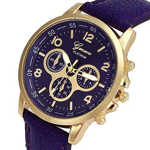Culater Luxus Unisex Laessige Genf PU Leder Quarz Analoge Armbanduhr Lila
