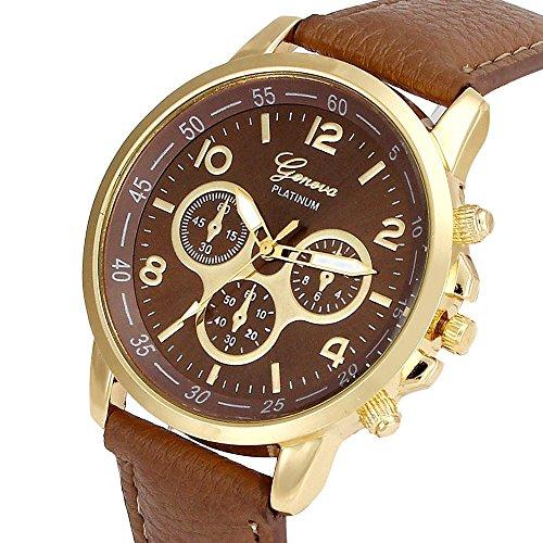 Culater Luxus Unisex Laessige Genf PU Leder Quarz Analoge Armbanduhr khaki