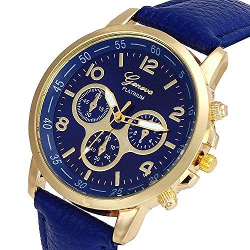 Culater Luxus Unisex Laessige Genf PU Leder Quarz Analoge Armbanduhr Blue