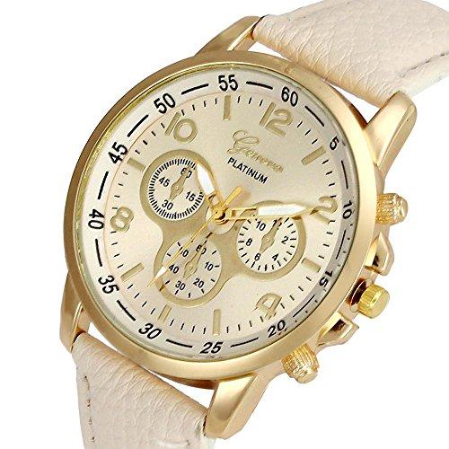 Culater Luxus Unisex Laessige Genf PU Leder Quarz Analoge Armbanduhr Beige