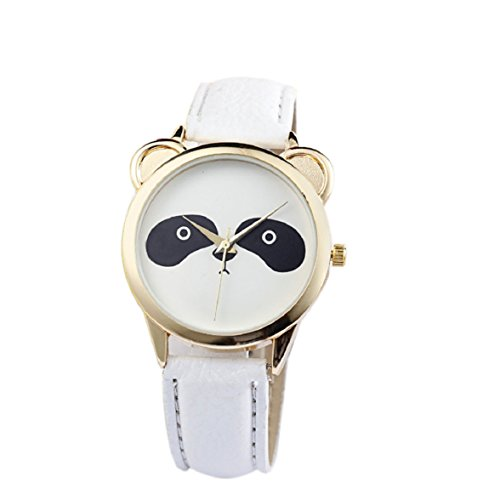 Culater Frauen Maedchen Gold Zifferblatt schoen Panda Katzenbaer Gesicht Kunstleder Armbanduhr weiss