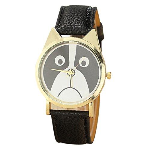 Culater Frauen Maedchen Gold Zifferblatt schoen traurig Panda Katzenbaer Gesicht Kunstleder Armbanduhr schwarz
