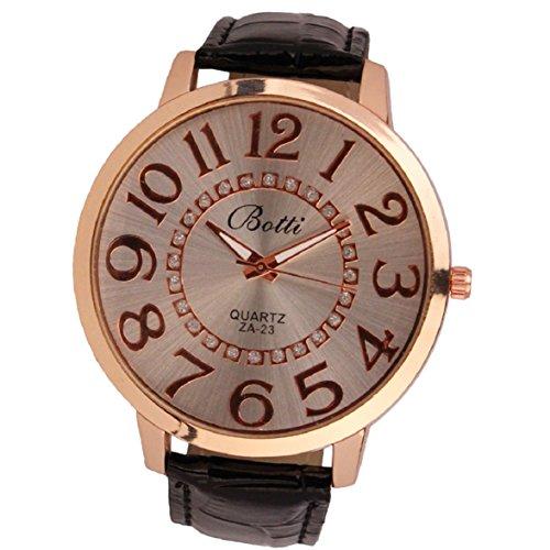 Culater Frauen Dame gross Roemer Zahlen Gold Zifferblatt Leder Quarzuhr Armbanduhr schwarz