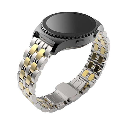 Uhrenarmbaender fuer Samsung Gear S2 Classic Culater Bunte Luaxus Edelstahl Band Uhrenarmband Metall Spange Gold