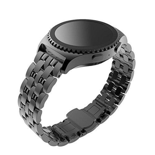 Uhrenarmbaender fuer Samsung Gear S2 Classic Culater Bunte Luaxus Edelstahl Band Uhrenarmband Metall Spange Schwarz