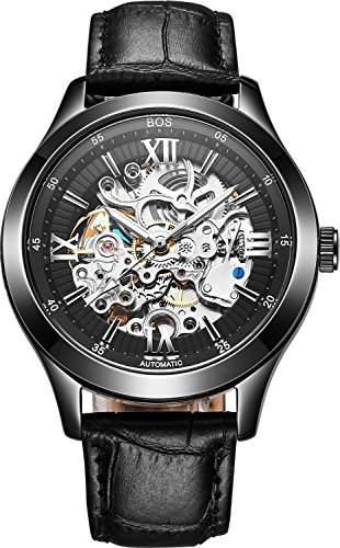 BOS Herren Automatikuhr Automatik mechanischen Wasserdicht Skeleton Uhr Zifferblatt schwarz Lederband 9008