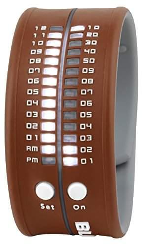 Unisex Armbanduhr aus Silikon braun LED weiss