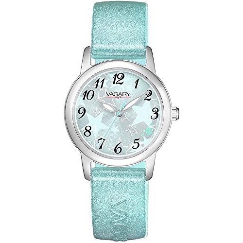 Uhr Vagary Girl 91st IH7 018 72 Quarz Batterie Stahl Quandrante hellblau Armband Silikon