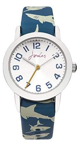 Joule Boy Quarz-Uhr mit weissem Zifferblatt Analog-Anzeige und Blau PU Gurt unterzeichnet