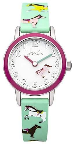 Joules Mädchen-Armbanduhr Analog Quarz weißes Zifferblatt und türkises Silikon-Armband JS011