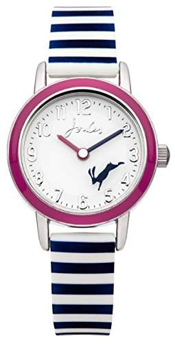 Joules Mädchen-Armbanduhr Analog Quarz weißes Zifferblatt und weißes Silikon-Armband JS012
